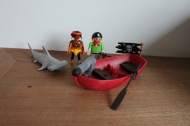 Playmobil hamerhaai met piraten in bootje 5137.